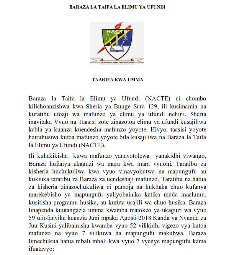 Photo of NACTE: DISSOLUTION AND TERMINATION OF SEVEN (7) INSTITUTIONS BY NACTE IN TANZANIA