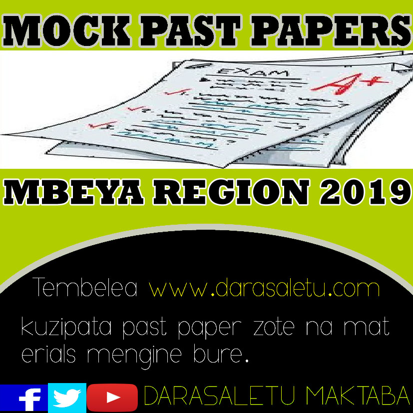Photo of PAST PAPERS FOR MBEYA REGIONAL MOCK EXAMINATION 2019,