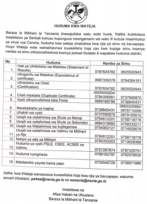 Photo of IMPORTANT NEWS AIMED TO SIMPLIFY SERVICES FROM NATIONAL EXAMINATION COUNCIL TANZANIA (NECTA)